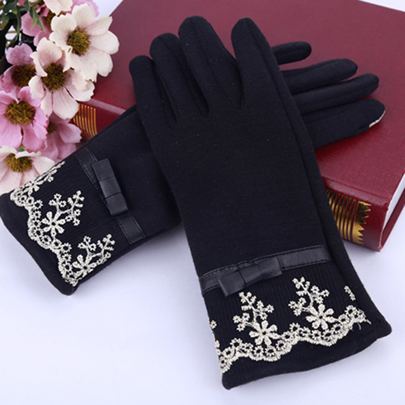 Fashion Womens Winter Gloves Warm Lace Mittens Smart Phone Touch Screen Guantes Outdoor Driving Female Gloves