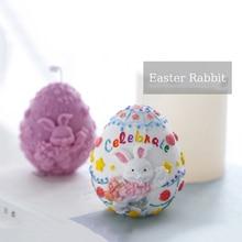 3D wielkanoc jajko formy silikonowe mydło śliczny królik mydło wyrabiane ręcznie formy DIY Aroma tynk gipsowy Craft formy