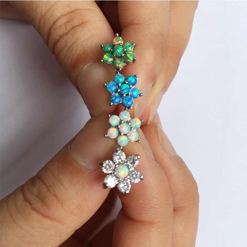 Hot Opal Stone Flower Tragus Piercing 316L Surgical Steel Ear Cartilage Helix Barbells Lip Labret Stud Earring Body Jewelry