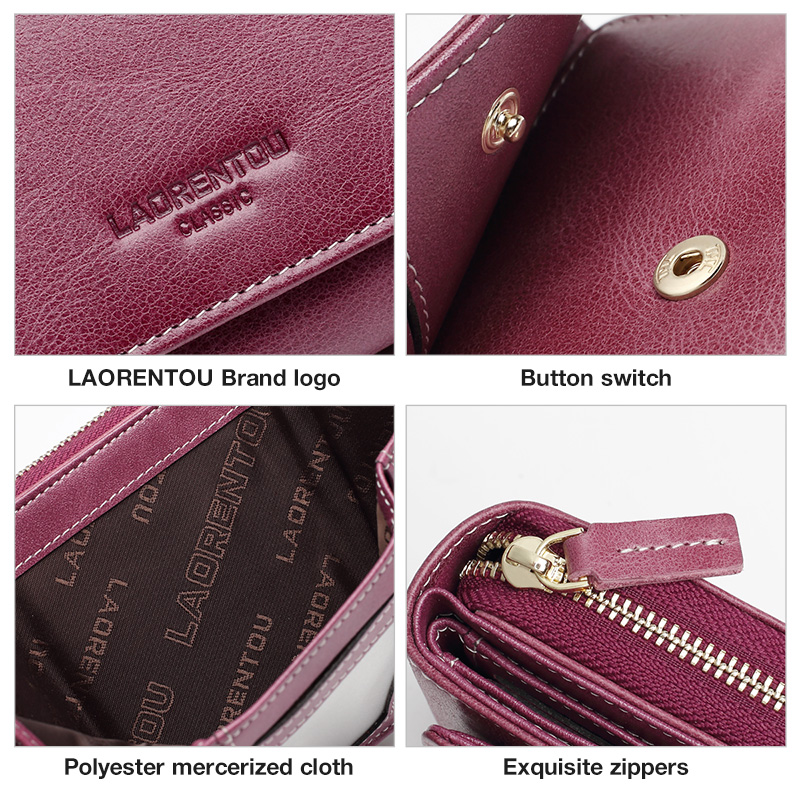 Image 5 - LAORENTOU Genuine Leather Ladies Money Bag Female Short Wallet Casual Card Holder Clutch Bag For Women Coin Purse Mothers GiftWallets   -
