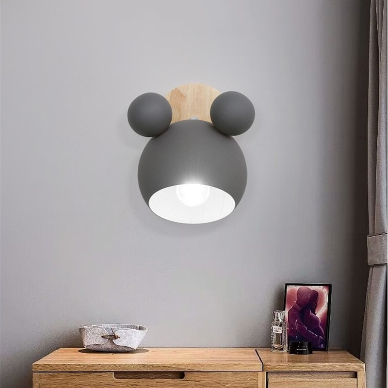 Nordic Mickey Wall Lamp Bedroom Parlor Wall Light Study Applique Murale Luminaire Simple and Lovely Children's Room Wandlamp
