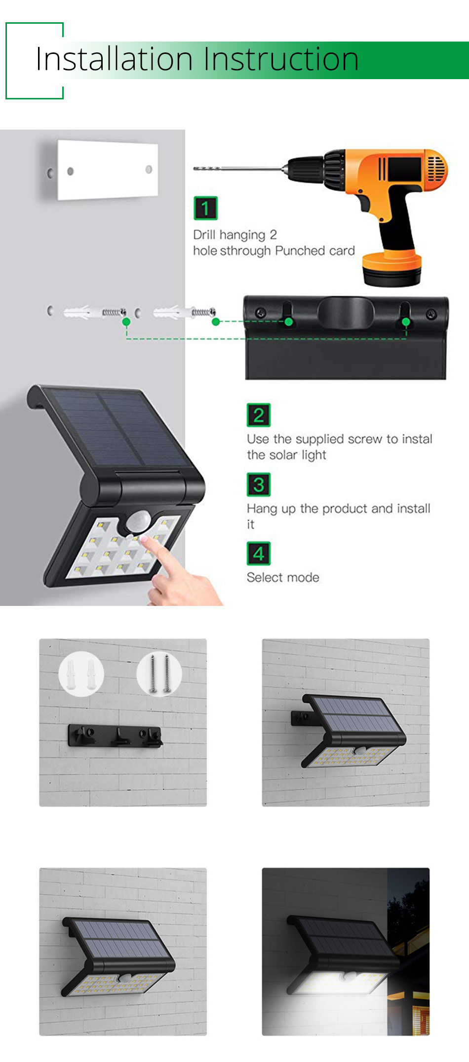 IP65 Outdoor Solar Led Lighting Home Garden Street Courtyard Solar Wall Lights Motion Sensor Lamp Modern Lithium Battery (1)