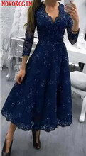 2019 New Deep V Neck A Line Mother Of The Bride Dress 3/4 Long Sleeves Lade Appliqued Tea Length Plus Size Formal Evening Gowns