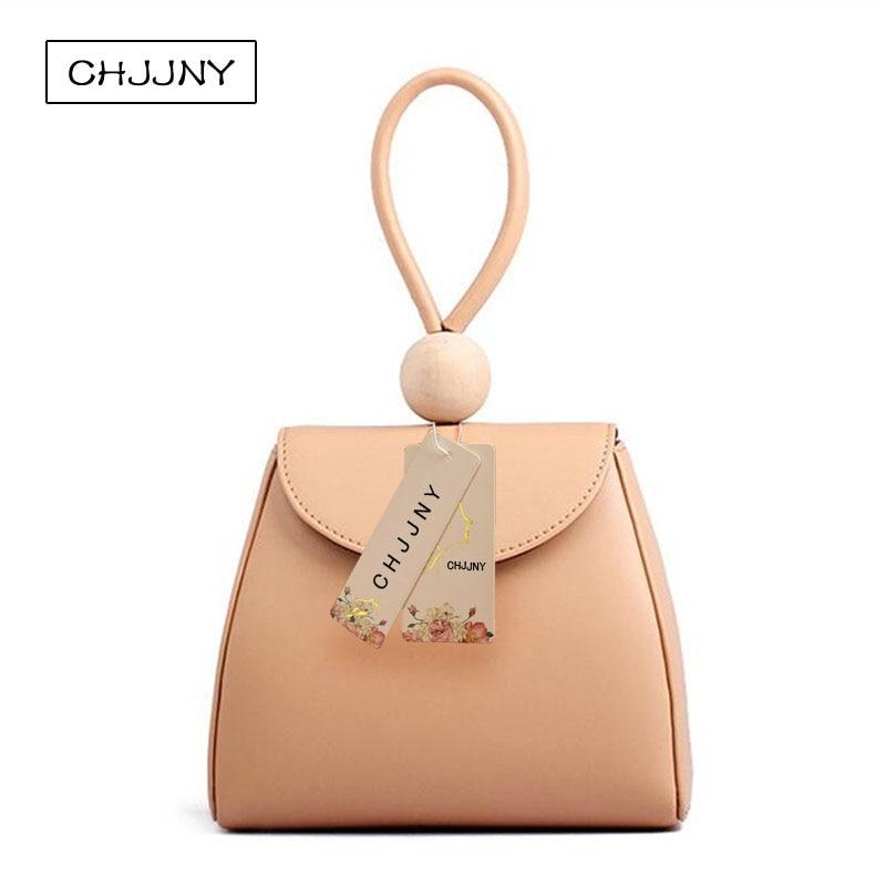 ФОТО CHJJNY japan harajuku style small bag simple vintage women genuine leather hand bags with wood ball