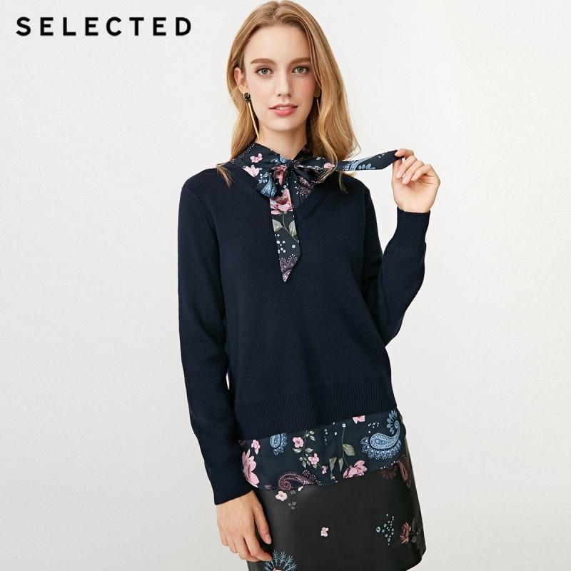 اختيار المرأة الصوف مزيج V العنق المطبوعة الدانتيل متابعة وهمية اثنين قطعة سترة S  418424512-في البلوفرات من ملابس نسائية على  مجموعة 1