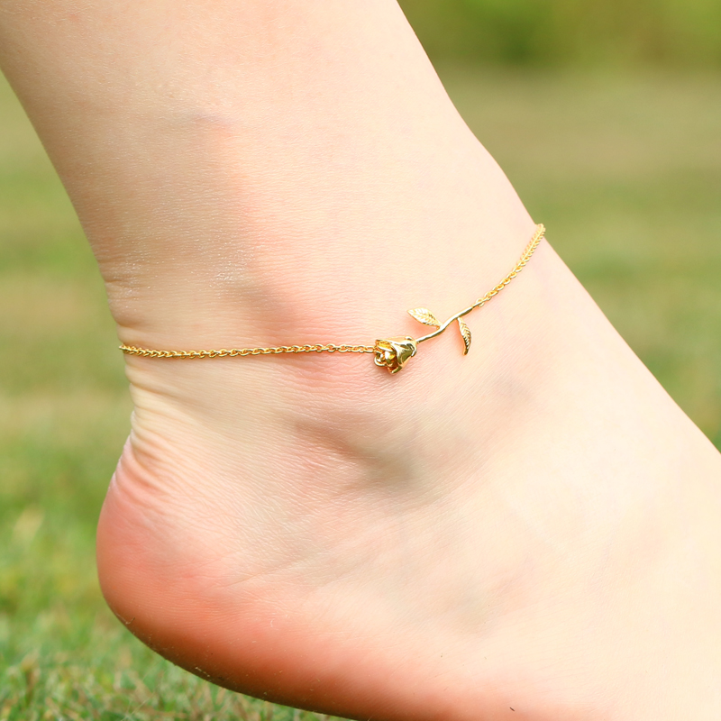 3UM Rose Anklet Sandals Summer Beach Beauty and The Beast Forever Love Final Rose Flower Body