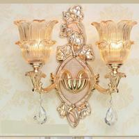 Delux Glass Shade Gold Wall Lamp E14 E12 Project Commercial Lighting Crystal Drops Living Room Hotel