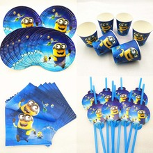 50pc/set Minions Party Supplies Paper Plate Cup Napkin Straw Baby Shower Theme Tableware Kids Birthday Decoration Favors