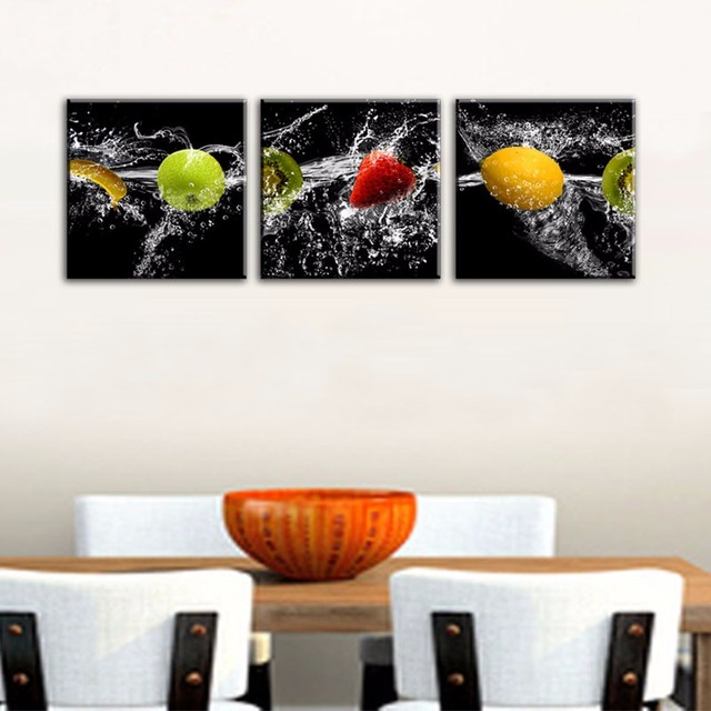 3 paneles arte de la pared cocina decorativa fruta pintura moderno ...