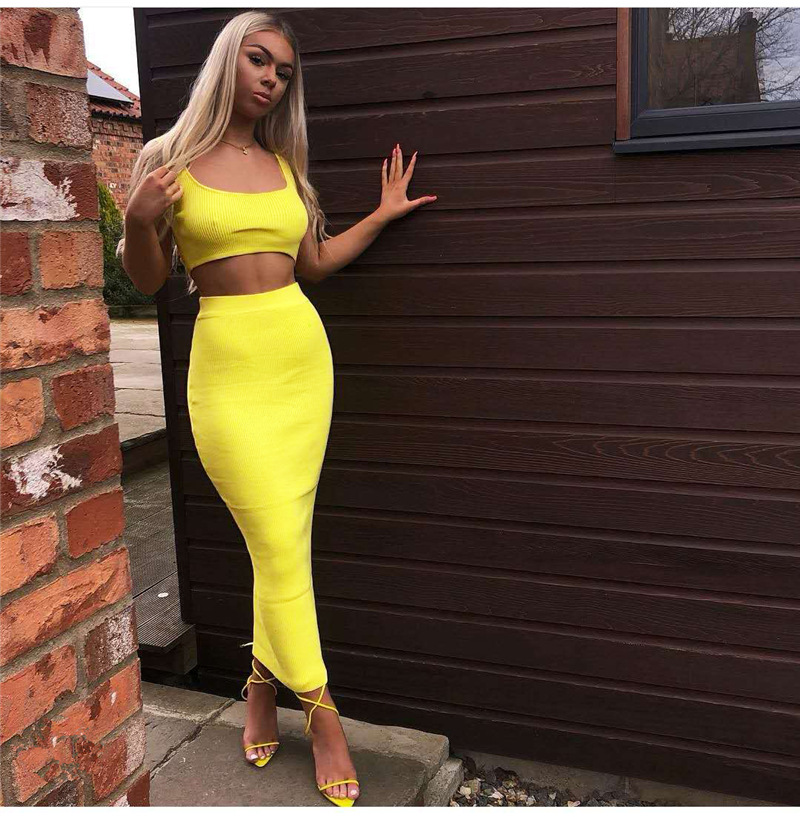 Garden Two Piece Set 2 Piece Set Women Winter Ribbed Crop Top And Skirt Set Matching Sets Woman Two Pieces Outfits