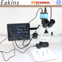 7 45X Simul focal Trinocular Stereo Microscope+21MP HDMI USB Industrial Video Digital Camera+144 LED light +8 LCD