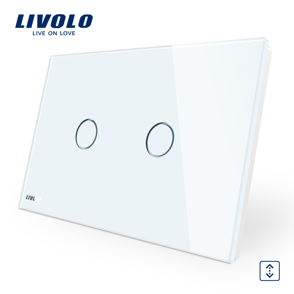 LIVOLO Wall Switch, 110~250V, Ivory White Glass Panel,  AU/US Standard Curtain Touch  Switch VL-C902W-11 the ivory white european super suction wall mounted gate unique smoke door
