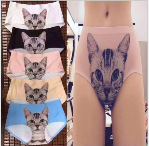 HOT Sale New Sexy Women's Pussycat Panties Anti Emptied Cat Printing Briefs Underwear