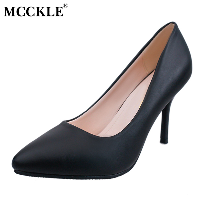 MCCKLE 2017 New Fashion Sexy Women's High Heels Comfortable Slip On Black Plus Size Pointed Toe Female Shoes Brand Office Pumps lady glitter high fashion designer brand bow soft flock plus size 43 leisure pointed toe flats square heels single shoes slip on
