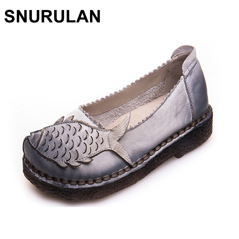 SNURULAN Large Size Women Shoes Female Slip On Solid Shallow Handmade Real Leather Shoes For Women Retro Casual Loafers Flats ladies beautiful flats shoes black female large size casual fur glitter women slip on comfy 10 winter bling drop shipping latest