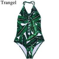 Trangel maillot Une Pièce halter top Maillots De Bain Femmes 2017 Vert Feuille imprimer maillot de bain femme plage d'une seule pièce Maillot de bain Monokini