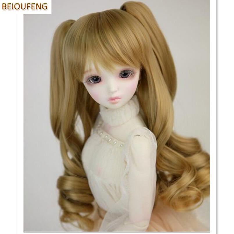 beioufeng bjd peluca de moda de pelo largo y rizado para muecas