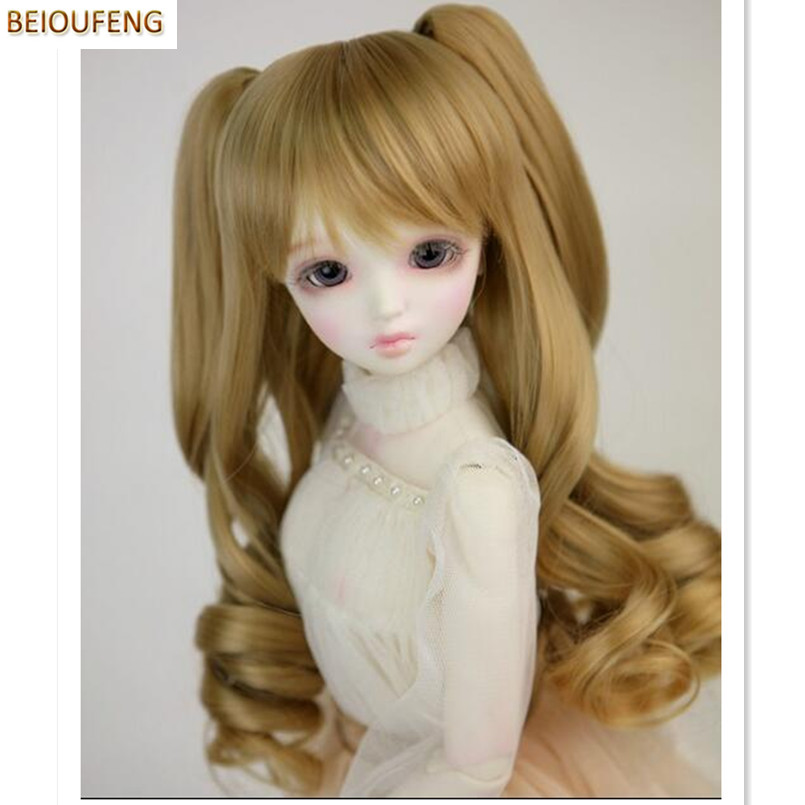 BEIOUFENG 1/3 BJD Wig Fashion Long Curly Hair for Dolls,(22-24CM) Beautiful High-temperature Doll Wig Synthetic-Hair-for-Dolls 1 3 1 4 1 6 1 8 1 12 bjd wigs fashion light gray fur wig bjd sd short wig for diy dollfie