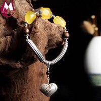 Fashion DIY Amber Beeswax Charm Bracelet For Women 100% 925 Sterling Silver Bracelets Bangles Punk Fine Heart Wood Beads SB35
