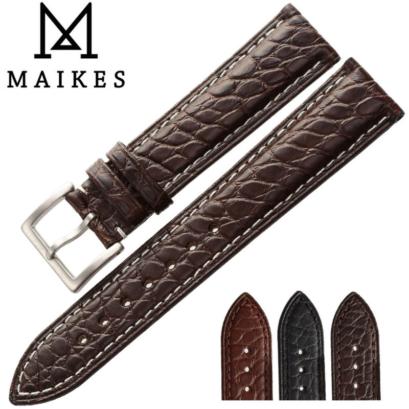 MAIKES Luxury Watch Accessories Genuine Alligator Leather Watchbands 18 20 21 22 24 mm Crocodile Leather Watch Strap Band maikes hq 16 18 20 22 24 mm genuine alligator leather strap watch band brown with pin buckle men watchbands bracelet accessories