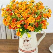 1 set 28 Heads Artificial Bunch Fake Silk Daisy Flower Hydrangea Wedding Party Bouquet Bridal Home Decor Floral P0.2
