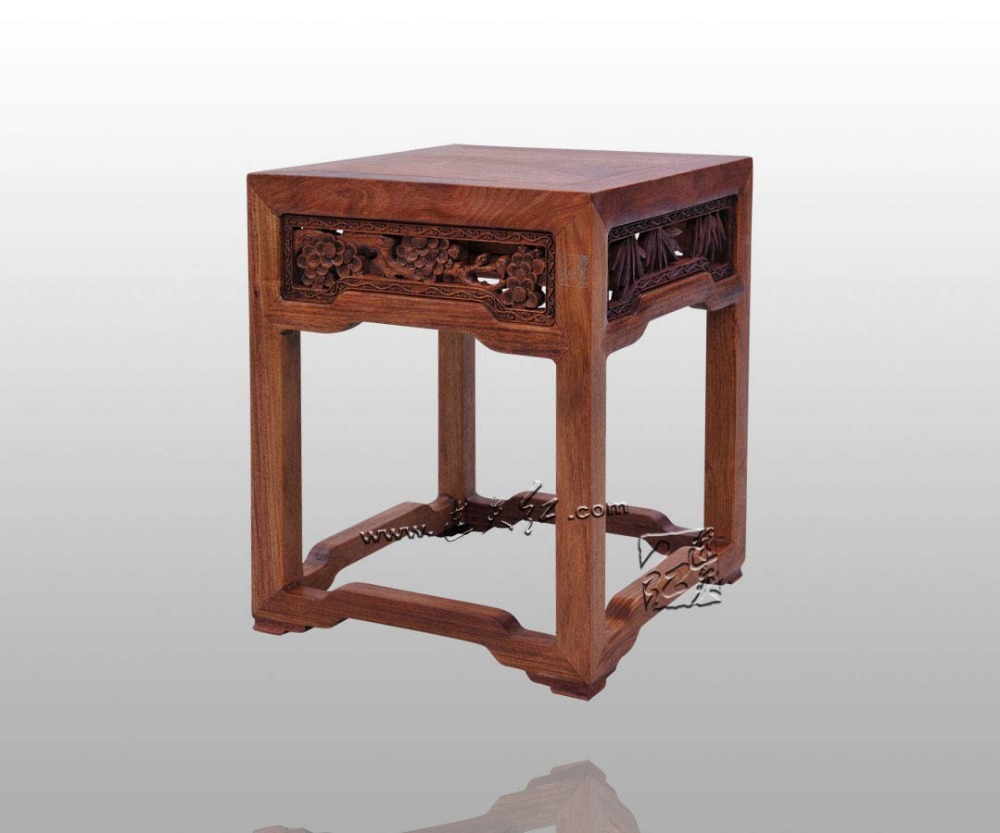 Burma Rosewood Stool With Fine Piercing Engraving of Pine , Bamboo Plum&Orchid China Classical Furniture Square Bench with Tenon small square wooden stool carved jade beads on the edge of the bench burma redwood classical furniture kids chair china rosewood