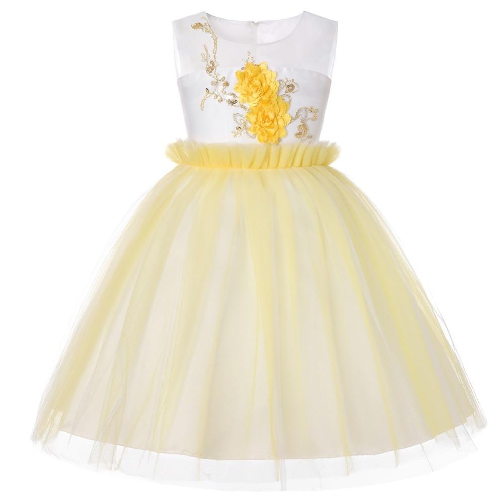 Children's clothing Flower Girl Dress 1-13 Years kids Princess Party dresses baby girl clothes elegant sleeveless Wedding Dress