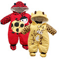 Winter Romper 2015 Baby Girl Boy Overalls Thick Cotton Suit Baby Romper Ladybug Cow Warm Infant Jumpsuit Baby Clothing