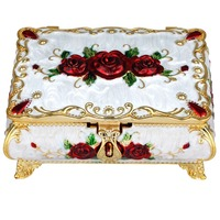 TUMBEELLUWA Enamel White Trinket Box Rectangle Jewelry Box with Red Rose Flower,Dividers Inside