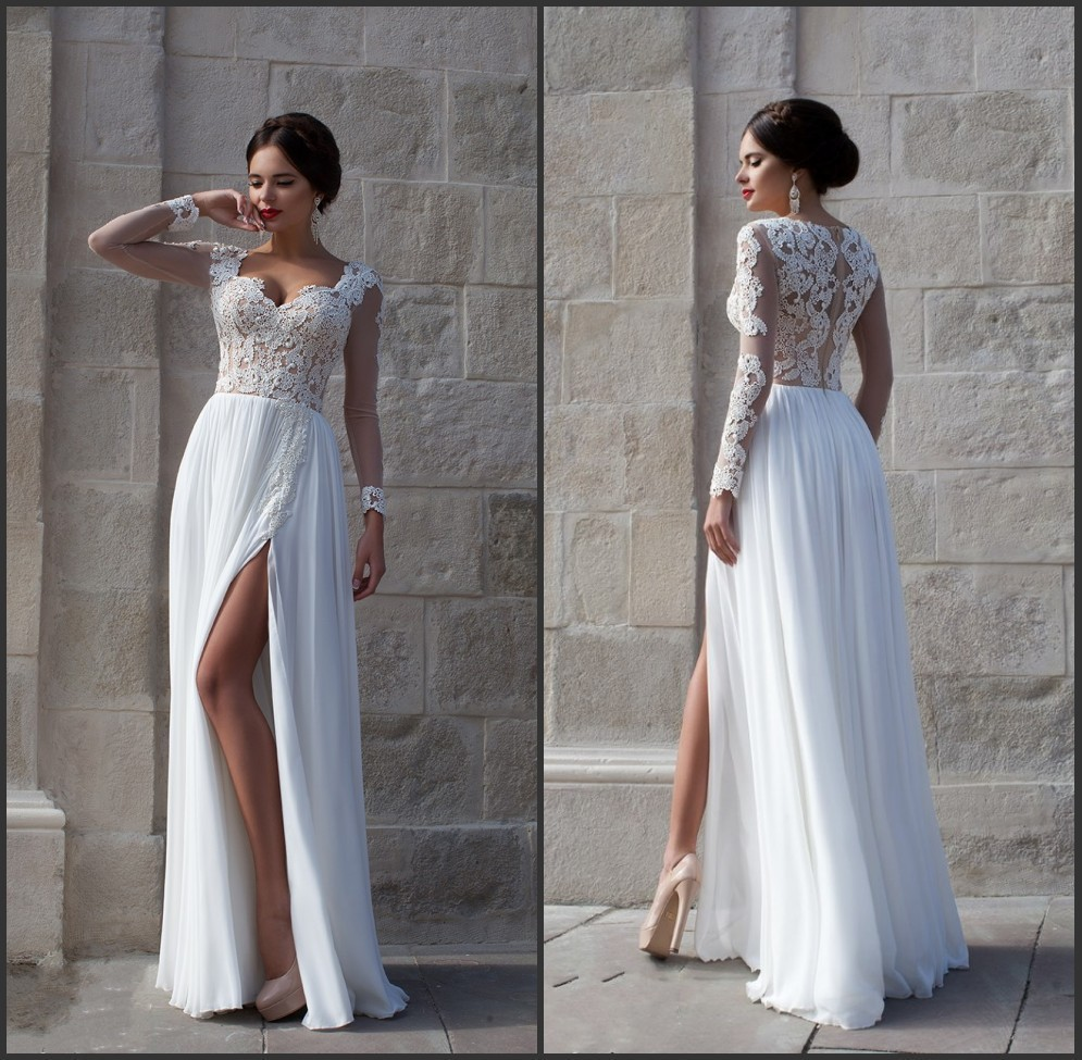 Sexy New Fashion Sheer Lace High Slit Long Sleeve Evening Dress 2016 Floor  Length Chiffon Prom Dress White Evening Dress 0186b65f9