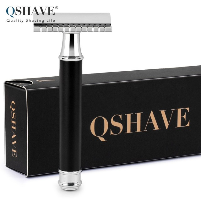Qshave Men Manual Shaving Razor Classic Safety Razor Black Handle Double Edge Blade Stainless Steel Metal with 5 blades as gift