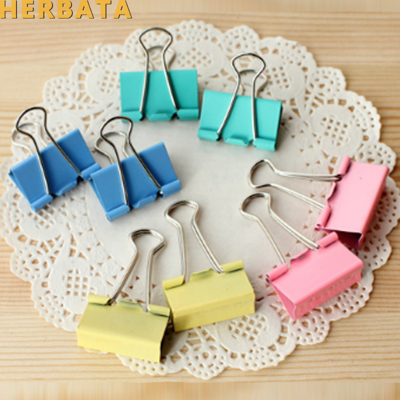 10PCS/lot 15mm Colorful Metal Binder Clips Paper Clip Office Stationery Binding Supplies Notes Letter File Bookmark Student