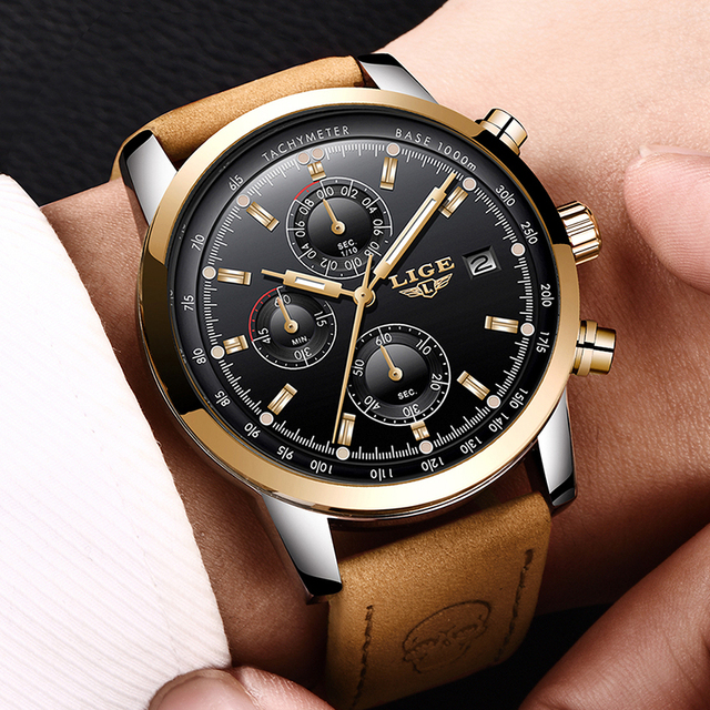 2018 New LIGE Mens Watch Top Brand Luxury Leather Casual Quartz Wristwatch Man Military Sport Waterproof Clock Relogio Masculino