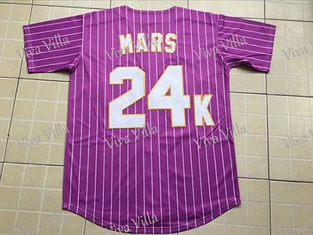 Baseball Jersey Custom Bruno Mars 24K Hooligans BET Awards Jersey Stitched purple Green White Throwback Baseball Jerseys