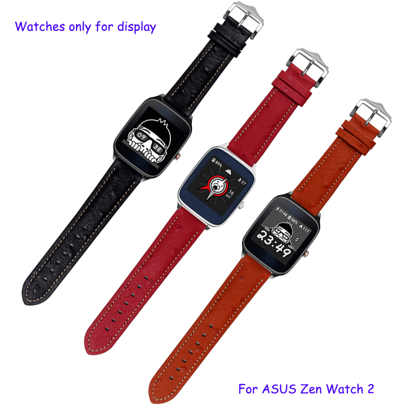 22mm ostrich pattern bracelet for ASUS ZenWatch 2 quality genuine leather watchband with pin buckle quick release