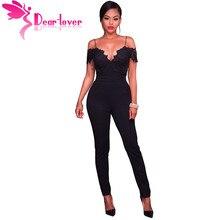 Dear Lover комбинезон черный/розовый кружева аппликация бретельках с открытыми плечами комбинезон Party Club комбинезон Комбинезоны для женщин 64326