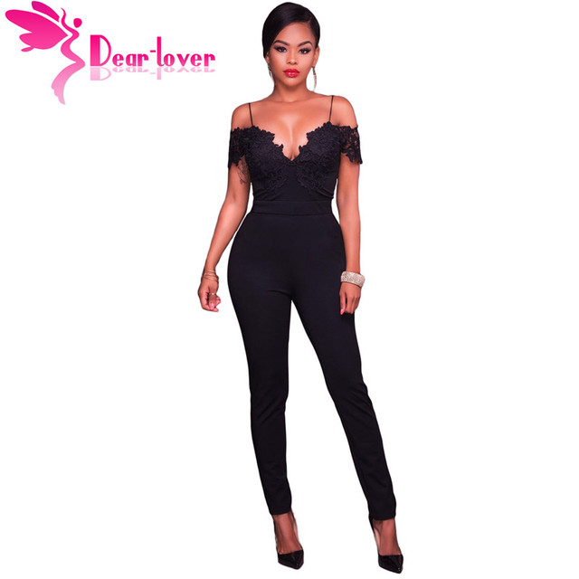 b2d9687f311 Dear Lover Jumpsuit Black Pink Lace Applique Spaghetti Straps Cold Shoulder  Romper Party Club Playsuit