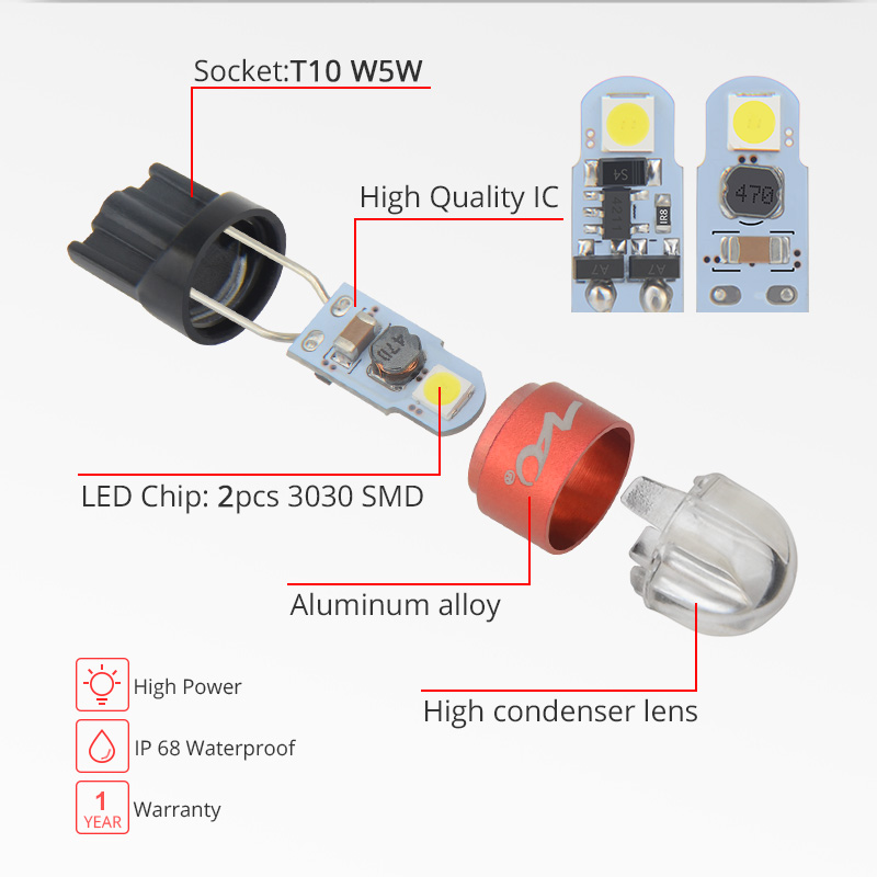 NAO T10 W5W LED Bulb 3030 SMD 168 194 Car Accessories Clearance Lights Reading lamp Auto NAO T10 W5W LED Bulb 3030 SMD 168 194 Car Accessories Clearance Lights Reading lamp Auto 12V White Amber Crystal Blue Red Motor