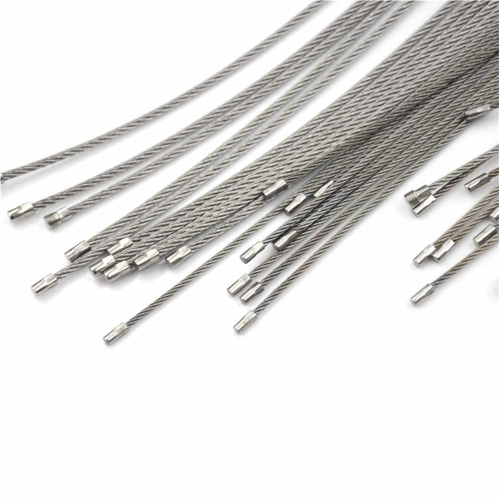 10 Pcs Chaveiro Corda de Fio de Aço Inoxidável Fio Keychain Key Ring Cabo Para Caminhadas Ao Ar Livre Mosquetão