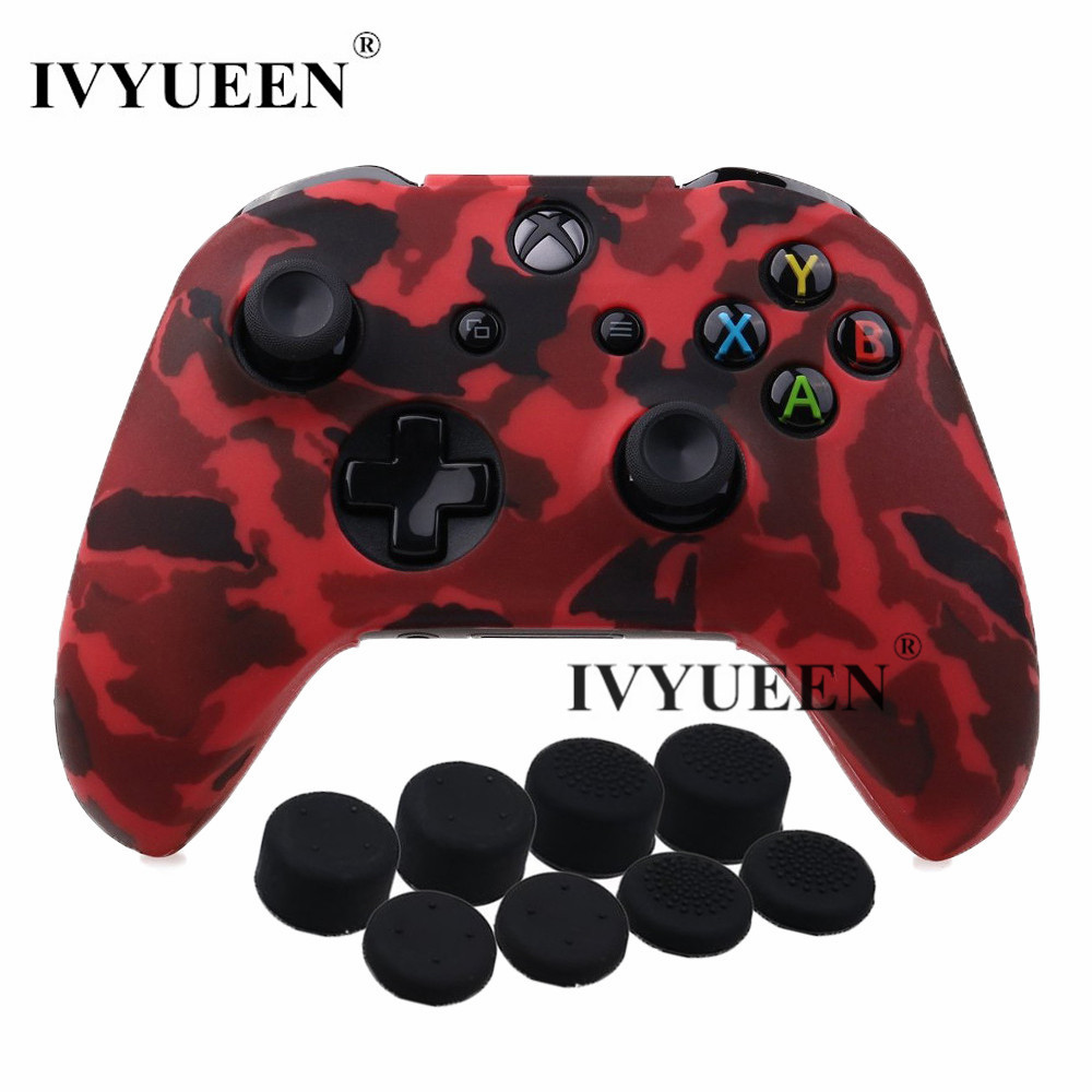IVYUEEN 9 in 1 Protective Silicone Skin Case for XBox One X S Controller Protector Camo Cover with 8 Analog Stick Grips Caps стоимость