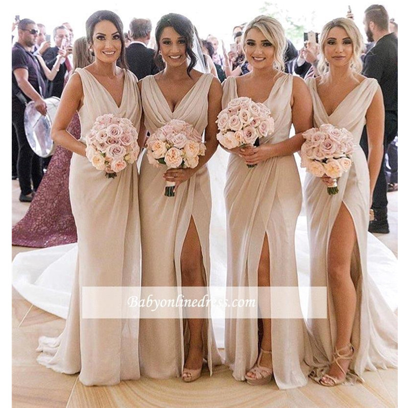 Sexy V-Neck Long   Bridesmaid     Dresses   Elegant Chiffon Wedding Guest   Dress   High Slit Wedding Party   Dress   Robe Demoiselle D'honneur