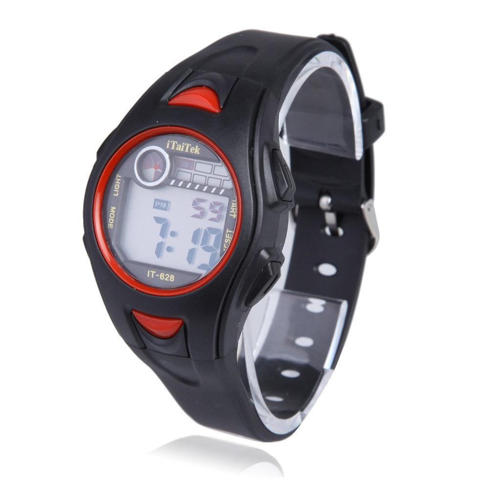 ITaiTek Children Boys Girls Swimming Sports Digital Wrist Watch IT-628 Waterproof (Black+Red)
