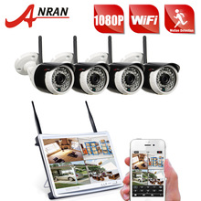 "ANRAN CCTV P2P 4CH 1080P 12""LCD Monitor WIFI NVR 36IR Waterproof 2.0MP Community Wi-fi IP Digicam Safety Surveillance System"