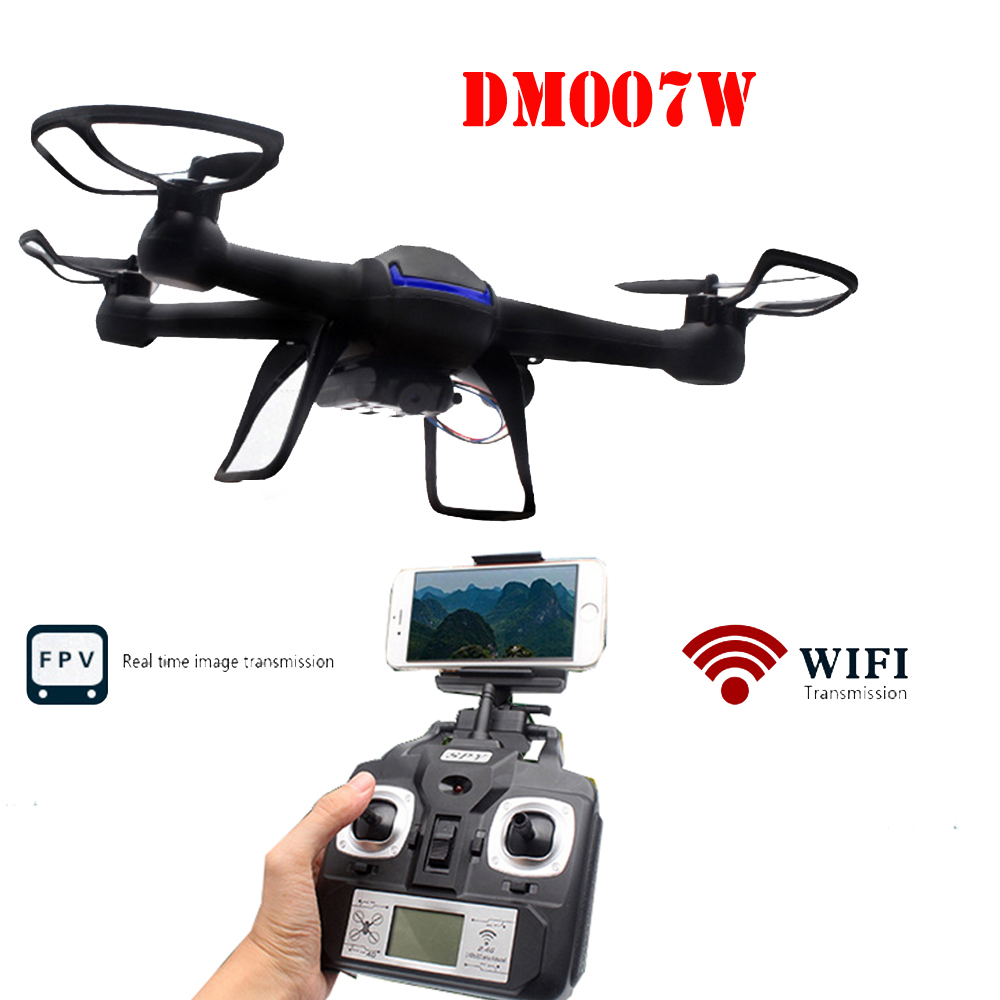 DM007W 007W 2.4GHz 4CH 6-Axis Gyro WiFi Real Time Video RC Quadcopter UFO UAV FPV 2.0MP HD Camera with Transmitter RTF fpv x uav talon uav 1720mm fpv plane gray white version flying glider epo modle rc model airplane