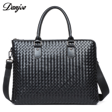 DANJUE Genuine Leather Handbag Men High Quality Men Briefcase Real Natural Leather Knitting Fashion Business Shoulder Bag