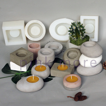 Cement candlestick silicone mold home furnishing parts concr