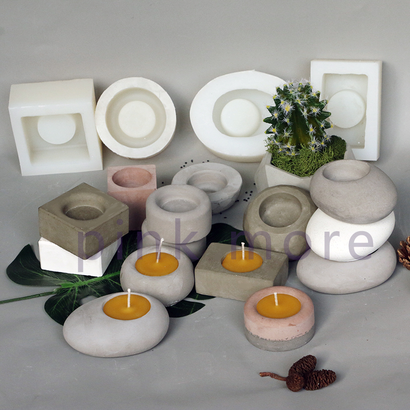 Cement Candlestick Silicone Mold Home Furnishing Parts  Concrete Mold Flower Pot Mold