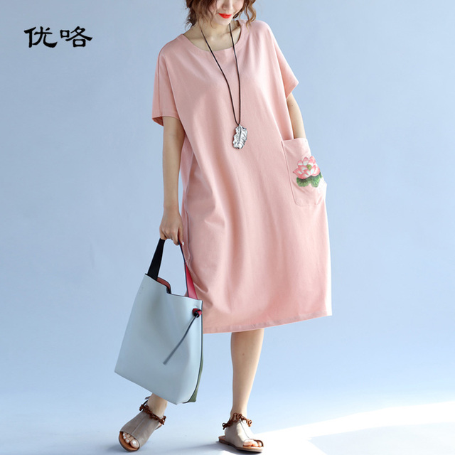 Women Chinese Embroidery Dress 2019 Summer Fashion Plus Size Midi Dress Female Short Sleeve Casual Loose Dresses Female 5XL 6XL