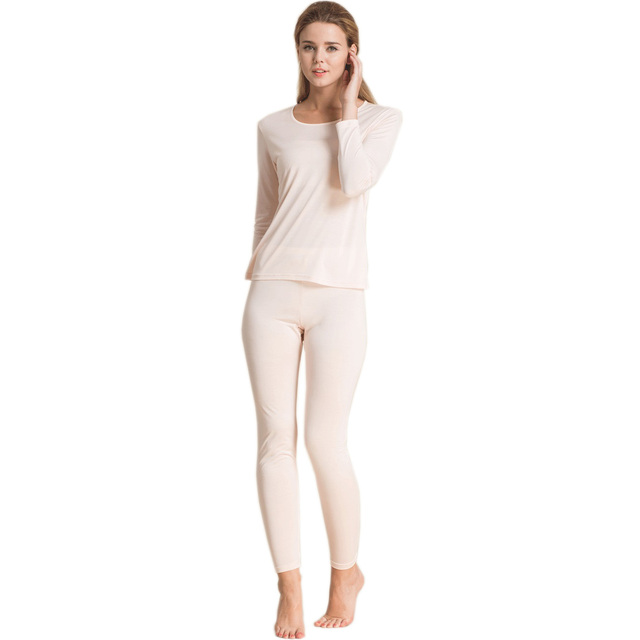 100% Pure Silk Women's Long Johns Set Ladies Warm Clothing Femme Thermal Nude Underwear Sets Female Body Suits Women