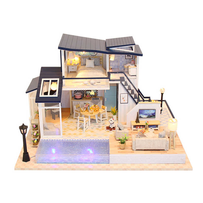 DIY Doll House Assemble Kits 3D Wooden Miniature Dollhouse With Led Furnitures Wooden House Toys For Children Birthday Gift